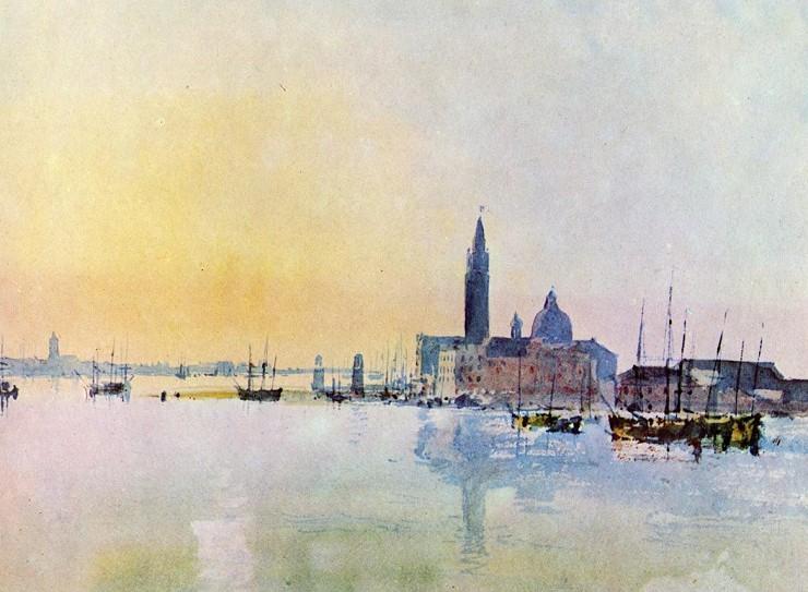 Уильям Тернер Венеция Вид восточнее острова Джудекка. Восход солнца Акварель, бумага. 1819