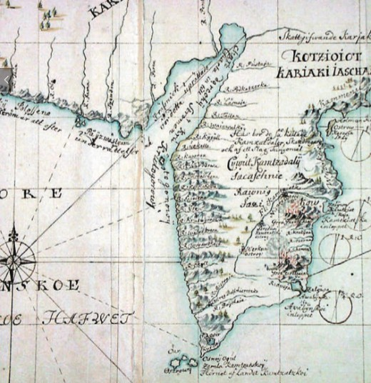 Карта Камчатки из экспедиции Беринга