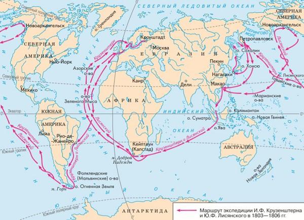 Карта первого русского кругосветного путешествия