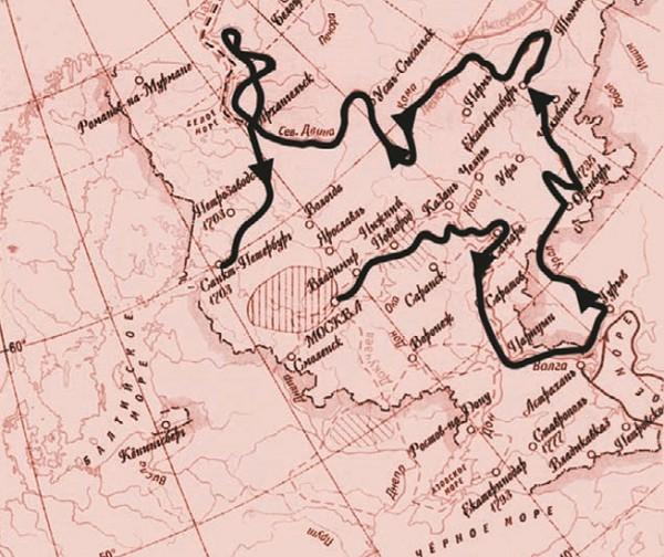 Маршруты экспедиций Лепёхина