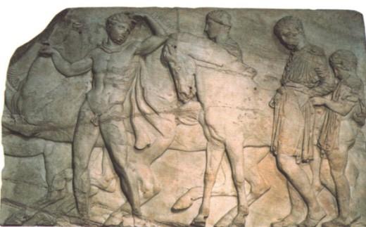 Рельеф с изображением праздничного шествия перед Парфеноном в Афинах