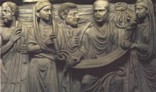 Философ (со свитком в руках) в окружении учениц и учеников