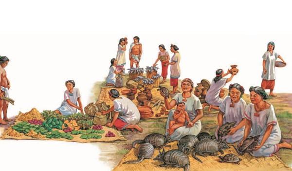 На городских рынках ацтеки продавали овощи, фрукты и другие продукты питания