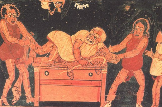 Актеры показывают народную проделку. Вазопись, ок. 350 года до н.э.