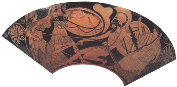 Поединок у стен Трои. Вазопись, V век до н.э.