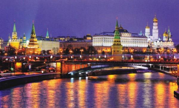 Ночная панорама Московского Кремля