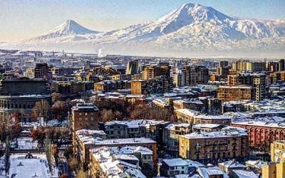 Ереван, столица Армении, и гора Арарат