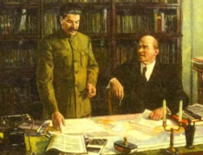 В. И. Ленин и И. В. Сталин обсуждают план ГОЭЛРО