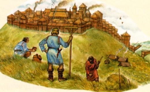 Крестьяне работали в поле, обрабатывая и общинные и боярские земли