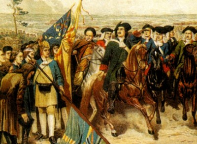 Полтавский бой. Шведы преклоняют знамена перед Петром I