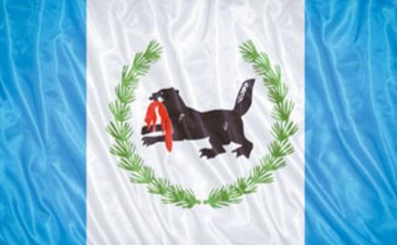 Флаг Иркутской области с изображением фантастического зверя бабра