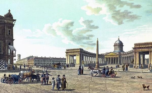Вид Казанского собора в 1821 г. Цветная литография