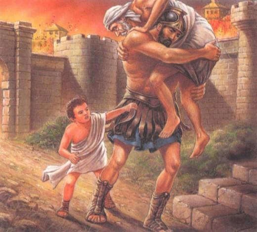 Эней спас из Трои отца и сына