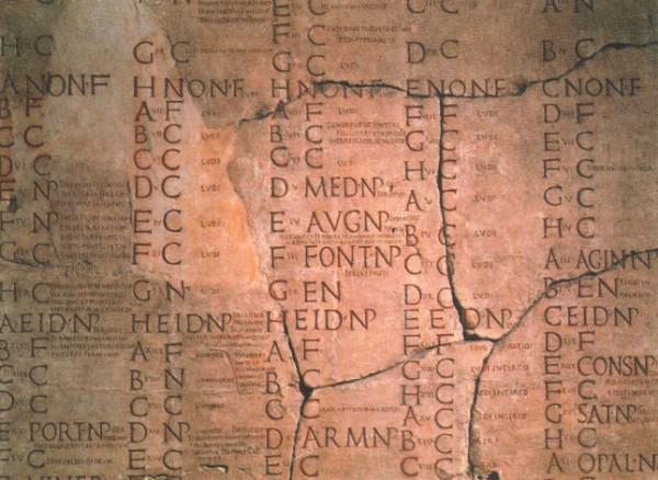 Фрагмент римского календаря