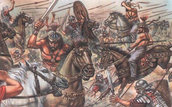 Римляне пытаются сдержать нападение варваров