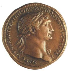 Бронзовый сестерций с изображением императора Траяна