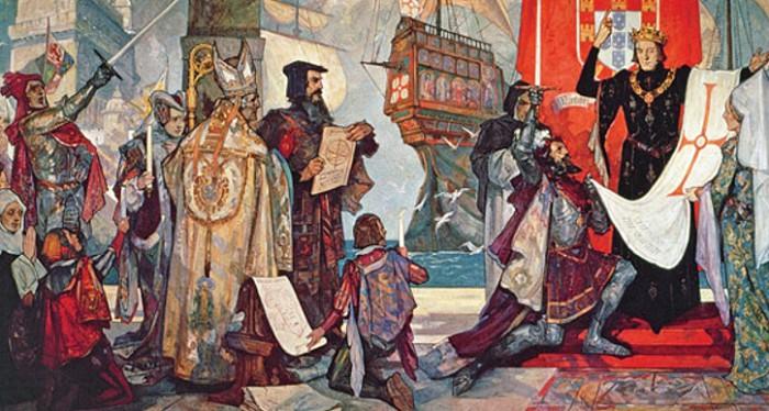 Король Мануэл I благословляет Васко да Гаму в путь. Неизвестный художник. Начало XX в.