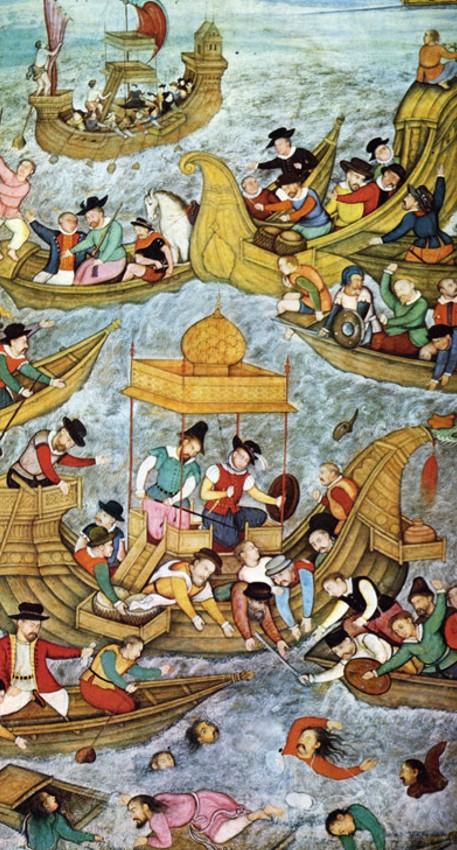 Португальцы сражаются с моголами. Средневековая гравюра