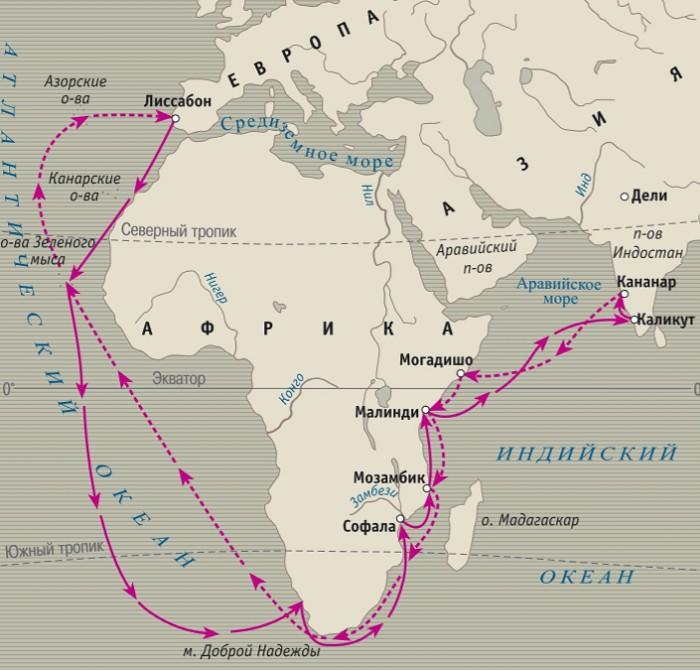 Маршруты экспедиции Васко да Гамы в 1497-1499 гг.