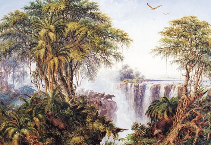 Стадо буйволов у водопада Виктория. Рисунок Т. Бейнса. 1862–1865 гг.
