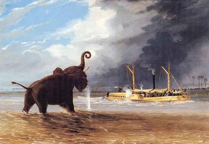 Слон на мелководье реки Шире. 1859 г. Рисунок Т. Бейнса