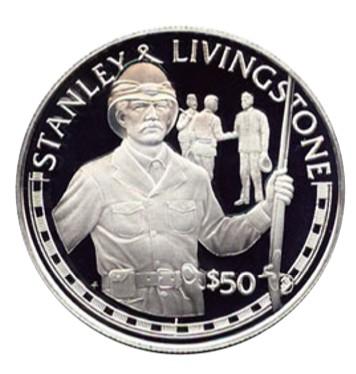 Монета островов Кука, посвященная встрече Ливингстона и Стенли