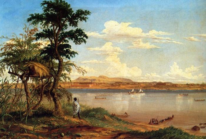 Вид на деревню Тете с северного берега Замбези. Рисунок Т. Бейнса