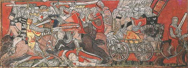 Битва короля Артура. Средневековая миниатюра