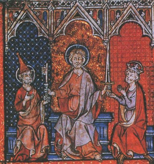 Христос вручает ключ Папе Римскому, а меч императору. Миниатюра. XIII в.