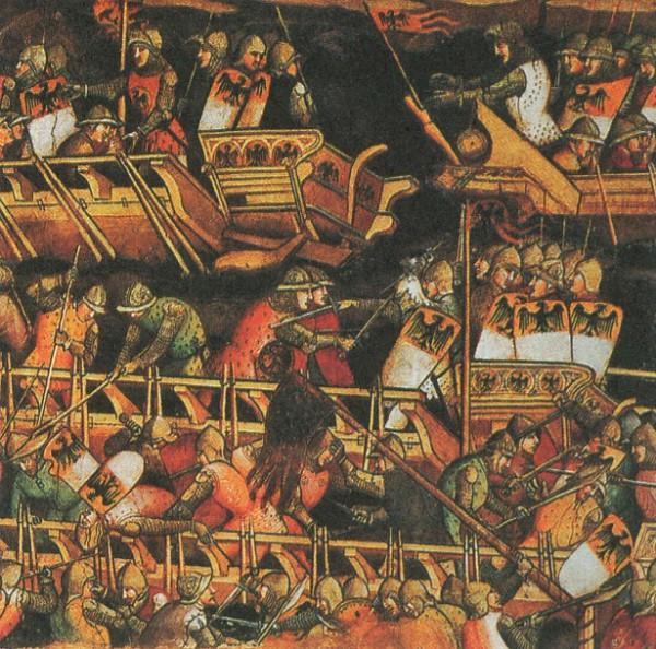 Морское сражение между венецианцами и императорскими галерами Фридриха I Барбароссы