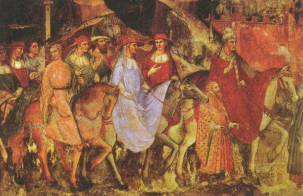 Торжественный въезд Папы Римского Александра III и императора Фридриха Барбароссы в Рим. Фреска. 1407 г.