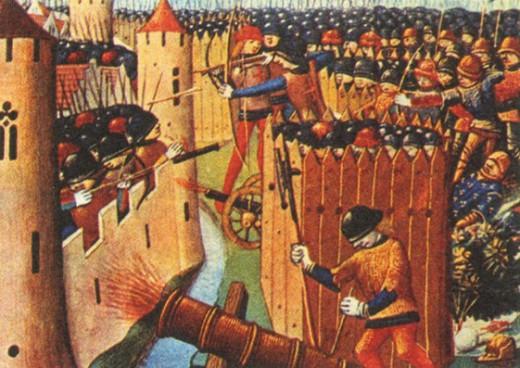 Осада города в эпоху Столетней войны. Миниатюра. XV в.