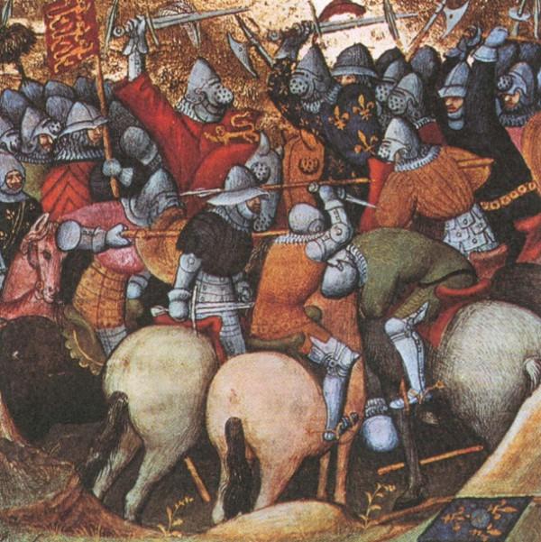 Сражение периода Столетней войны. Миниатюра. XV в.