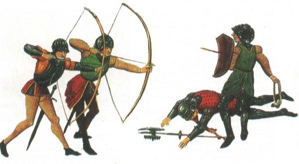 Английские лучники. Фрагмент миниатюры. XV в.