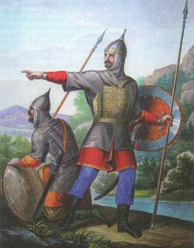 Воины сторожевого отряда. Литография. XIX в.