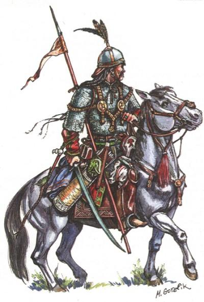 Знатный половецкий воин. Вторая половина XII—начало XIII в. Реконструкция М. В. Горелика