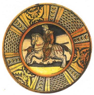 Блюдо с изображением османского воина. XV в.