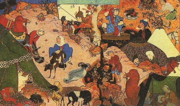 Кочевье. Персидская миниатюра. XVI в.