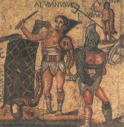 Мозаика с изображением гладиаторов