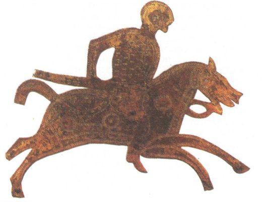 Пластина с изображением конного варварского воина. VII в.