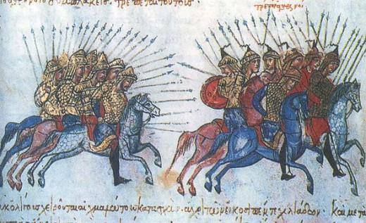 Византийские воины преследуют арабов