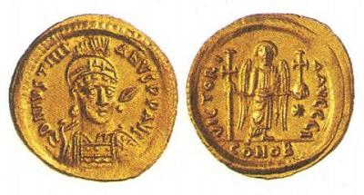 Монета императора Юстиниана I