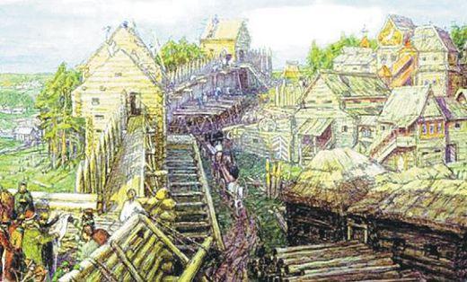 Строительство деревянных стен Кремля