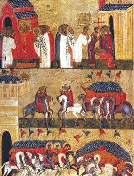 Битва новгородцев с суздальцами в 1170 г. Икона XV в.