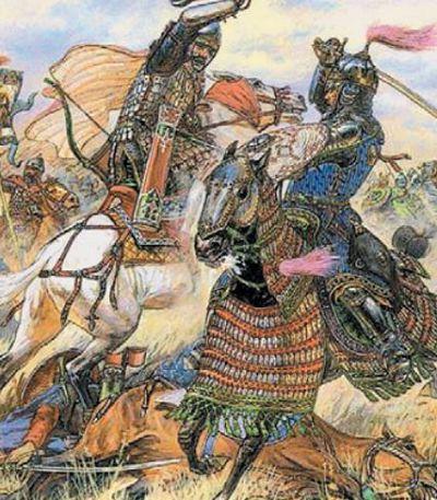 Единоборство русского конного воина с монгольским всадником