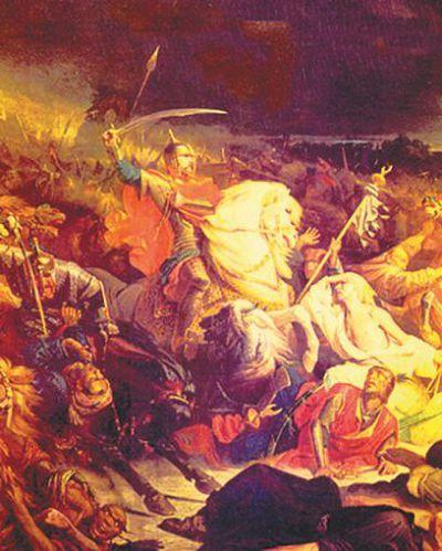 Куликовская битва. С картины А. Ивона