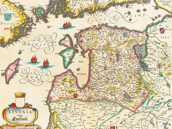 Старинная карта Ливонии