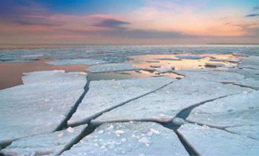 Почти вся поверхность Северного Ледовитого океана покрыта льдом