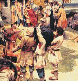 Князь Игорь собирает дань с древлян. С картины К. Лебедева.