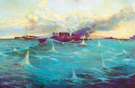 Фрагмент боя русской эскадры с японскими кораблями